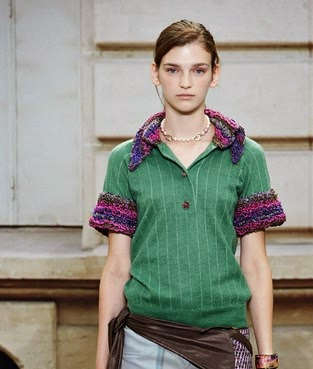 Chanel green wool with white stripe top and purple collar