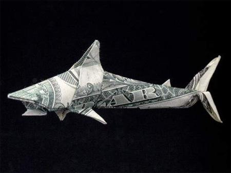 Dollar Bill Origami, Origami Art, Origami Shark