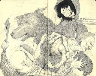ammon_perry_red_riding_hood_illustration_fairy_tales_moleskin_exchange_pen_ink_draw_drawing