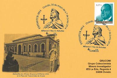 Tarjeta con el matasellos de Alfonso II, Rey de Asturias