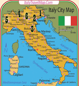 Map of Italy: Udine, Ferrara, Firenze, Como, Torino, Merate