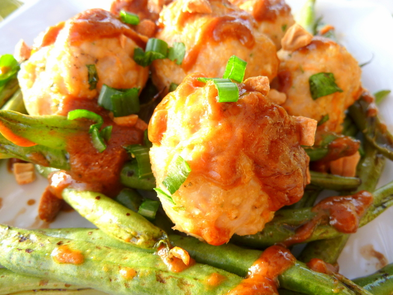 ... Asian Style Turkey Meatballs with Green Beans and Thick Peanut Sauce