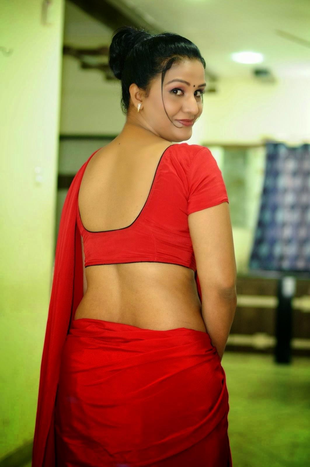 Apoorva Aunty Sexy Back Show Pics In Red Saree Photos - SAREE BELOW ...
