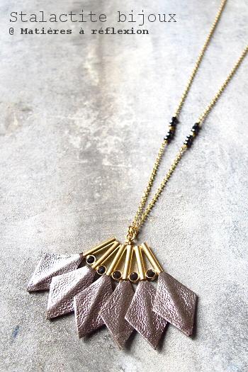 Soldes bijoux Stalactite sautoir doré cuir bronze Parrot