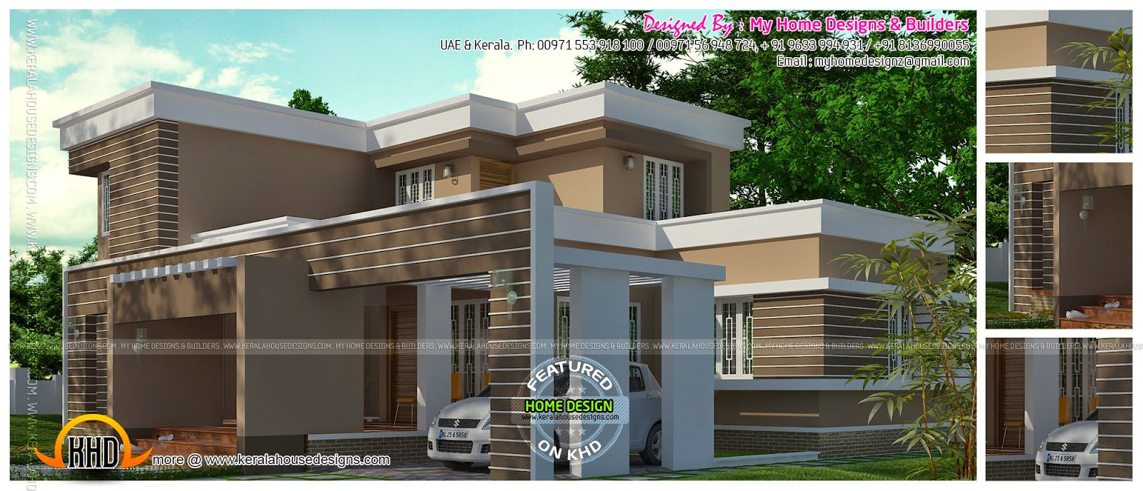Contemporary flat roof home exterior kerala home design for Flat exterior design