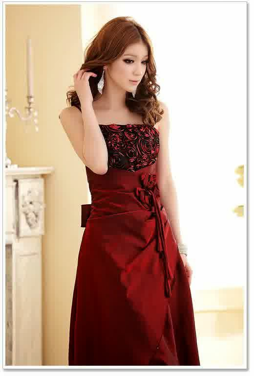 Model Baju Pesta Korea-Long Dress Merah