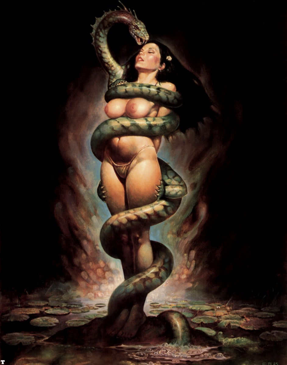 snake and nude women
