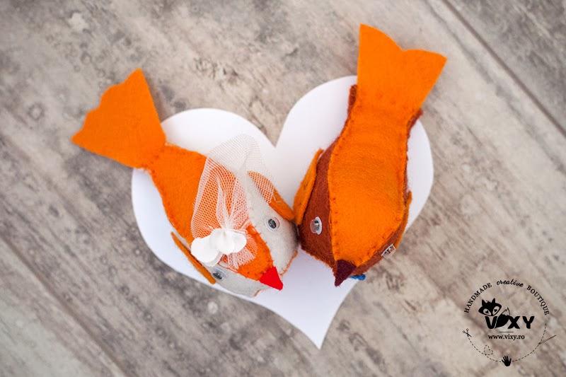 pasari cake toppers, pasari pentru tort, felt birds, pasari handmade