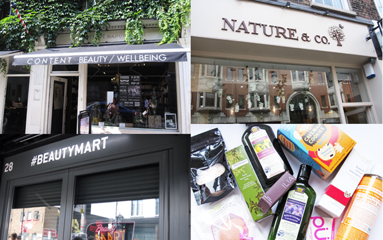 A picture montage of Field Trip Tour Green Beauty Shopping in London