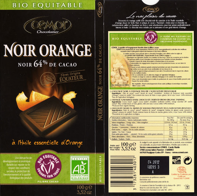 tablette de chocolat noir gourmand cémoi noir orange 64
