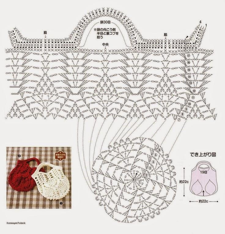 Крючок. схема вязания сумки 519