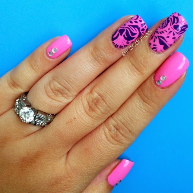 loreal neon acid watermelon pueen encore nail stamping