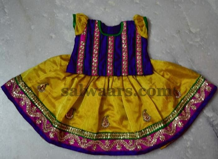 Mustard Silk Small Kids Skirt