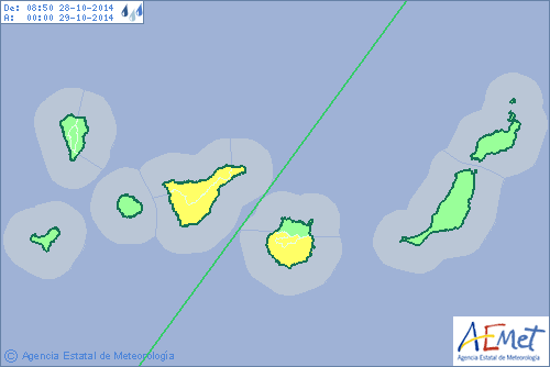 aviso amarillo  tenerife gran canaria lluvias martes 28 octubre