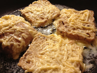 eggy cheese bread frying