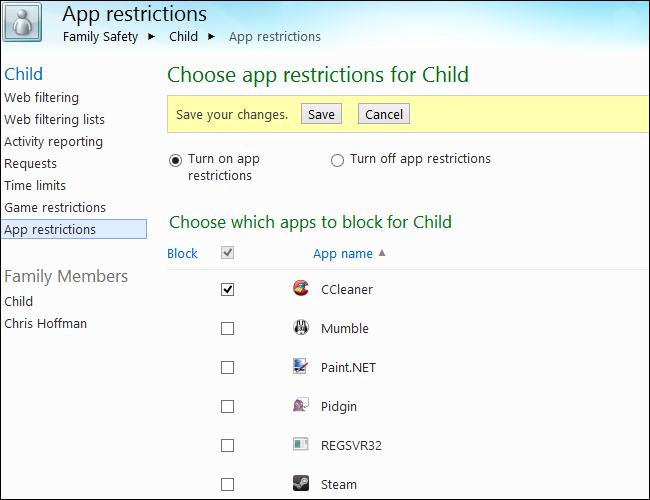 Giám sát và kiểm soát việc sử dụng máy tính của trẻ em trên Windows 8 M27