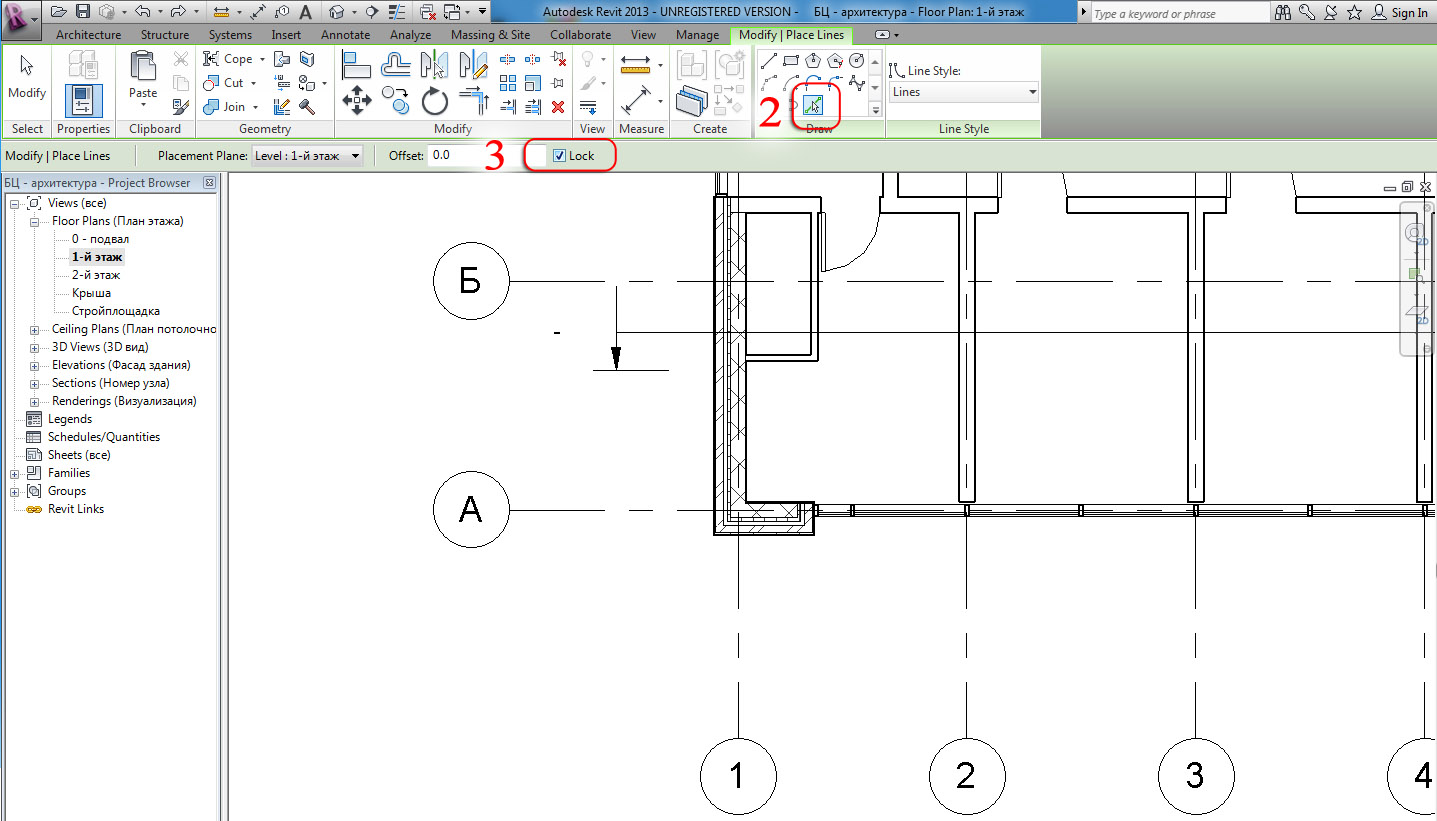 Drawing Lines In Revit : Revit and its friends autodesk grids on a d view
