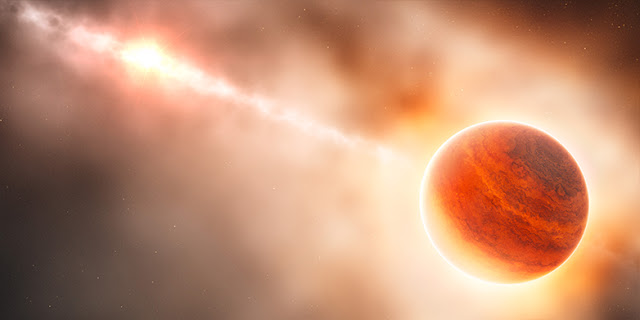The formation of a giant gas planet (right) near the star HD 100546 (left) is not yet complete, allowing astronomers to observe the process. (Artist's impression: ESO / L. Calçada)