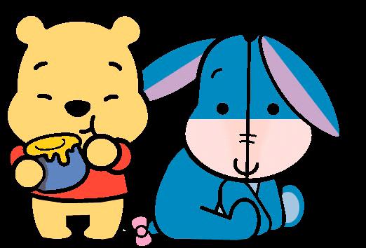 Desenho Pooh e Ió baby fofinho colorido com fundo transparente Turma do Pooh