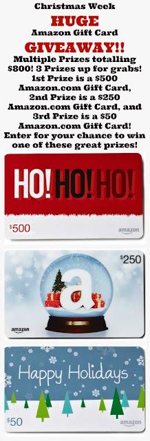 Christmas week Amazon gift card giveaway