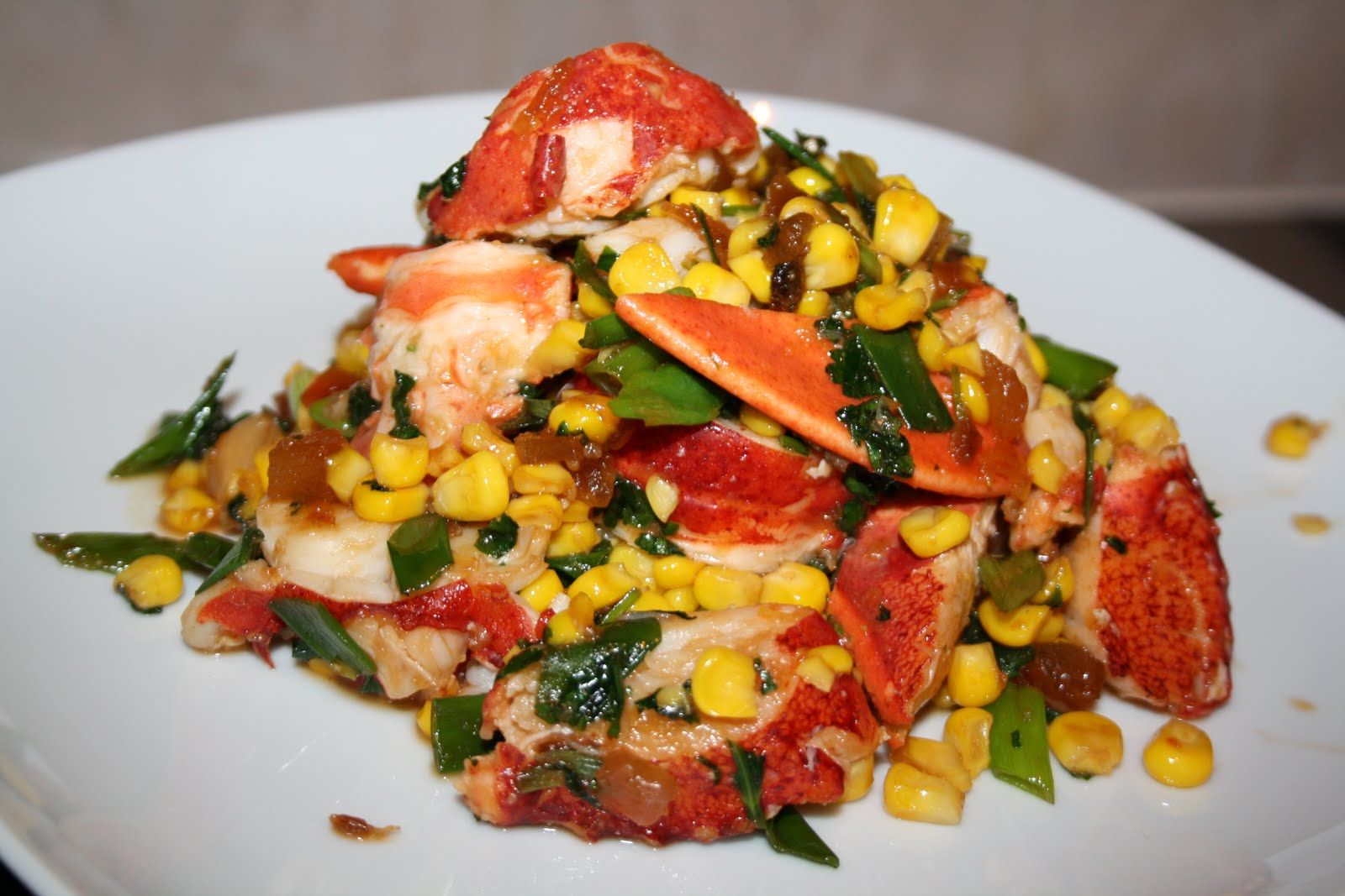 Sabrina's Passions: RECIPE: Lobster Stir Fry with Sweetcorn and Spicy Papaya