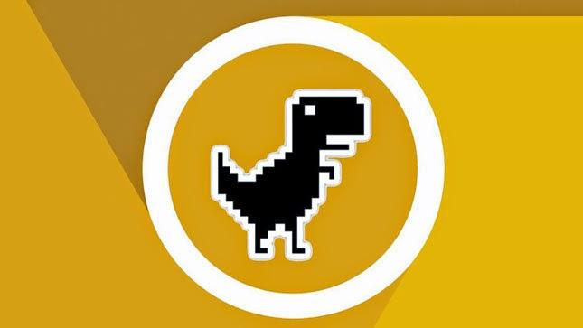 Desenho do T.rex pixelado envolto de um circulo branco.