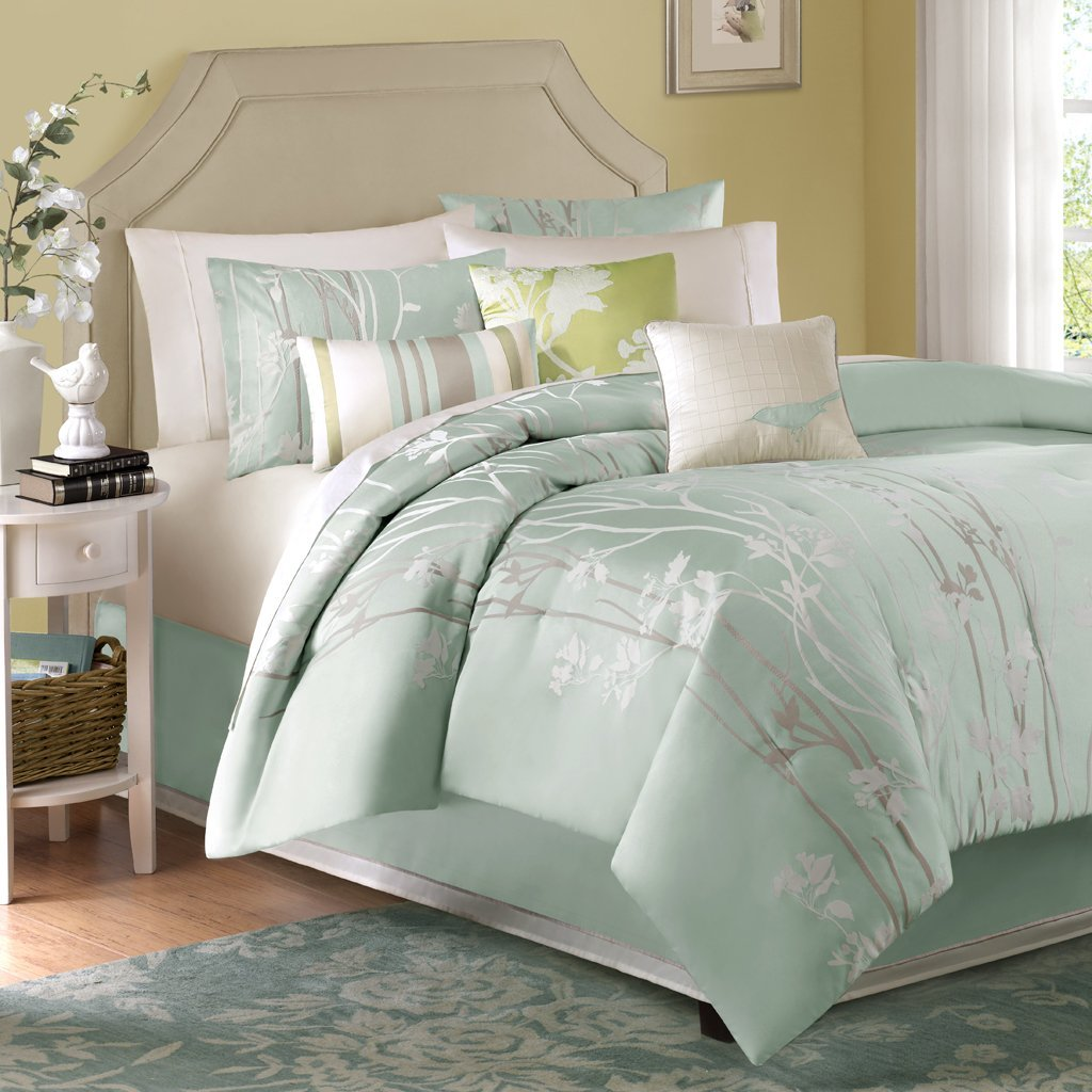 Alive breezy cool mint colored bedding and comforter sets for Best color bed sheets