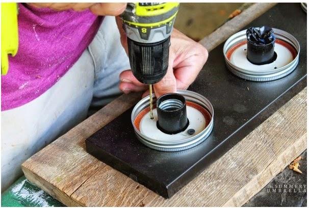DIY lampara con botes de cristal y madero vintage