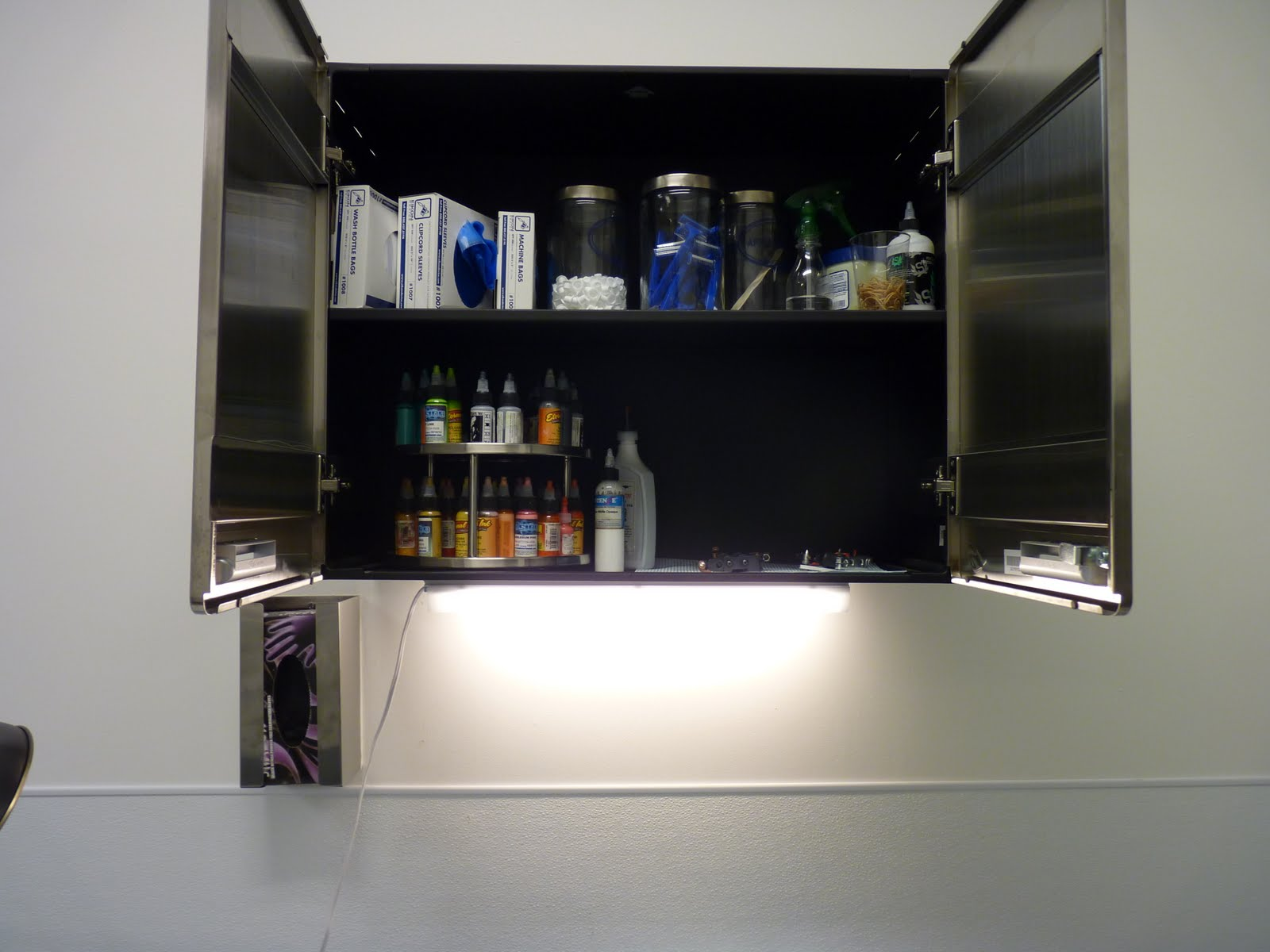 This Is A Shot Of My Sweet Stainless Steel Cabinet, Made My Hercke. Up Top  Are Barrier Bags For Machines And Rinse Bottles, And Some More Disposable  ...