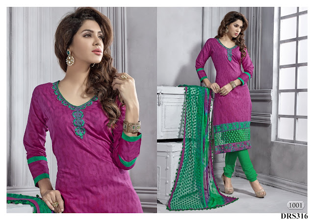 Buy Embroidered Cambric Cotton Brasso Dress Material