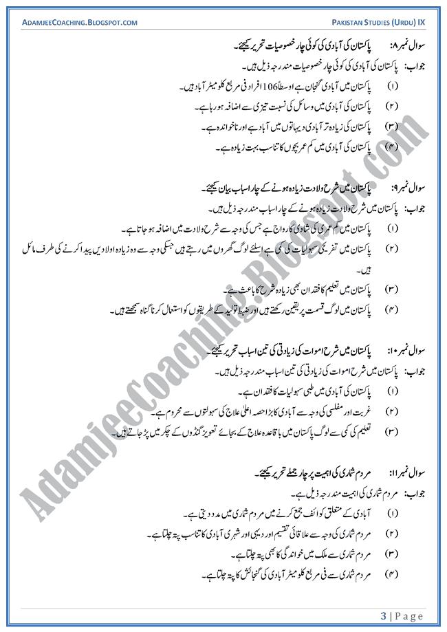 The-Population-in-Pakistan-Short-Question-Answers-Pakistan-Studies-Urdu-IX
