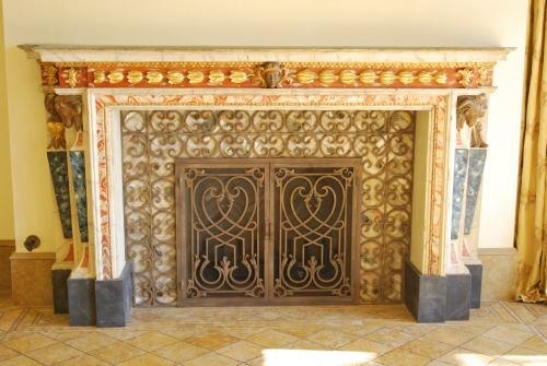 Custom Mantel With Custom Wrought Iron Mesh Door