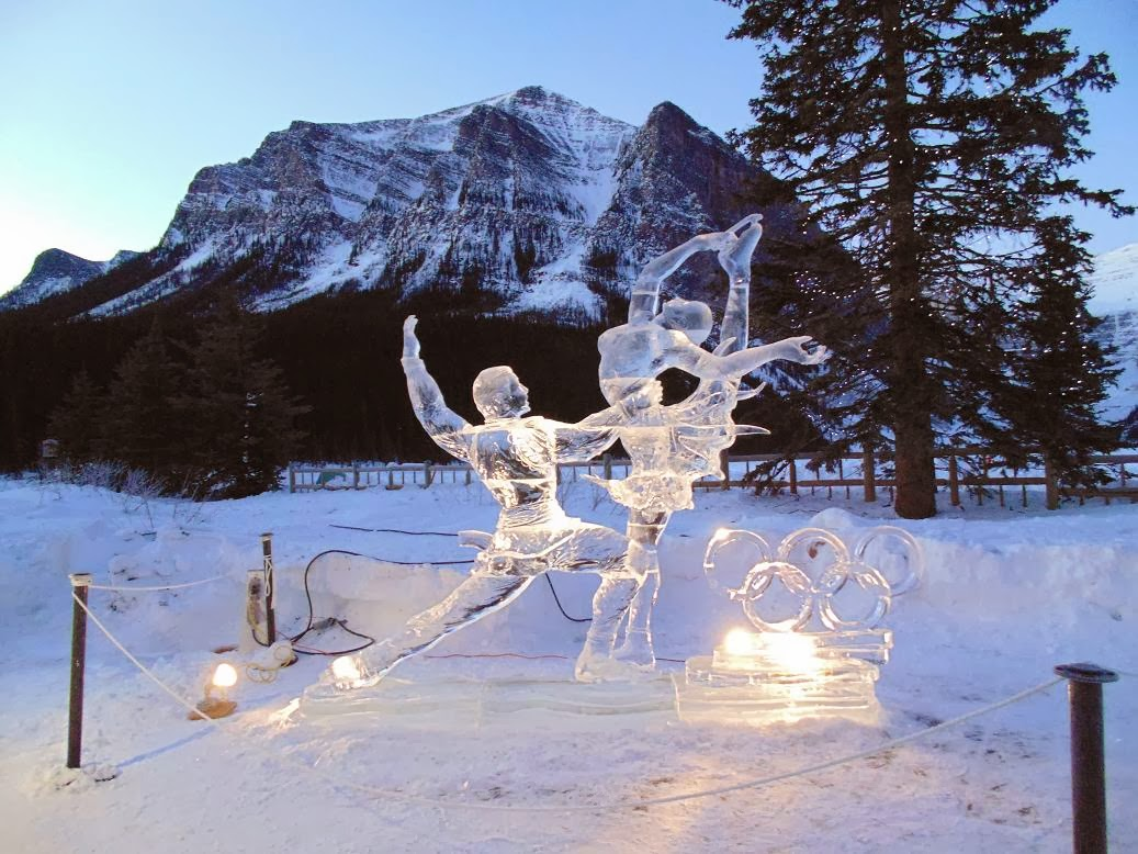 Gangsters out ice carving at lake louise