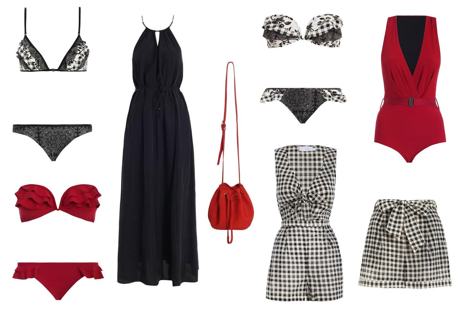 c11f95e971d Top to Bottom  Mystic frill tri-bikini  170. Red ruffled Mystic frill  bikini  160. Filigree black maxi dress  350. Red canvas crossbody bag  195.