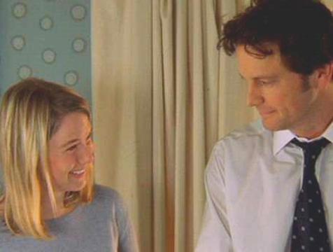 Bridget Jones (Renée Zellweger) y Mark Darcy (Colin Firth) en El diario de Bridget Jones - Cine de Escritor