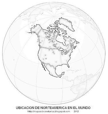 Ubicacion de Norteamerica en el mundo, blanco y negro