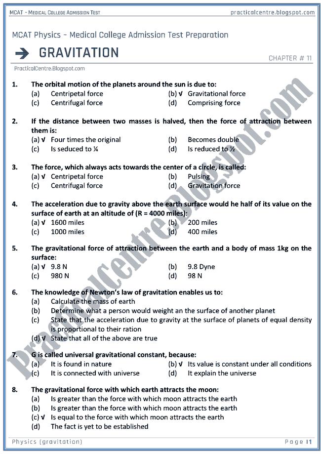 mcat-physics-gravitation-mcqs-for-medical-college-admission-test