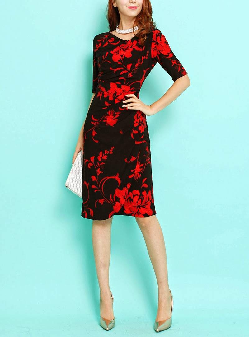 Duchess Fashion: Malaysia Online Clothes Shopping: Red Flower Print ...