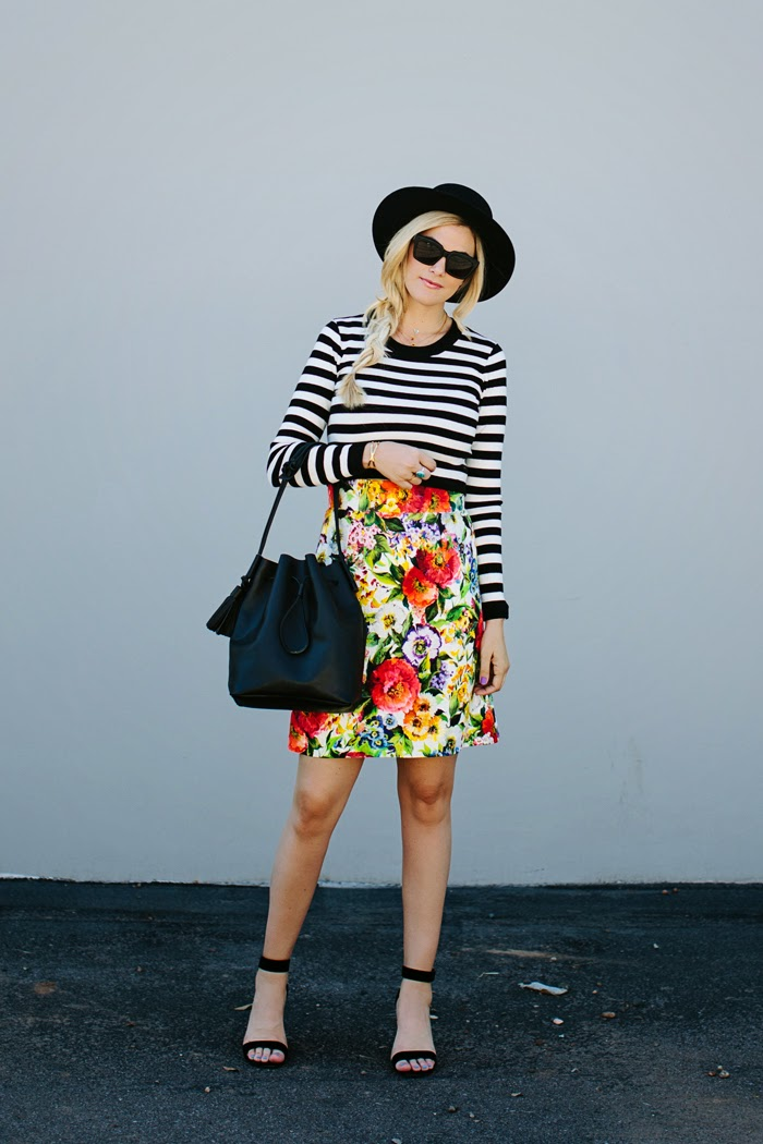 roupas da moda, Floral and Stripes, saia floral com blusa listrada