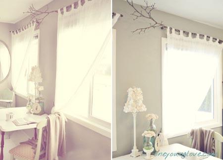 Twc decorando con ramas de rbol for Bases para colgar cortinas