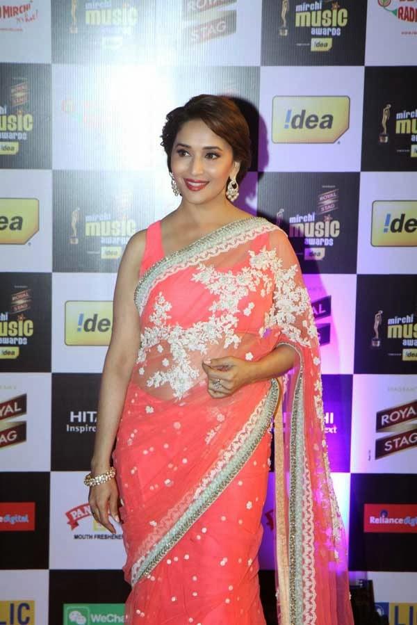 Madhuri Dixit in Pink Netted Lehenga Saree