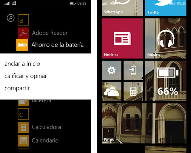 batería, windows phone