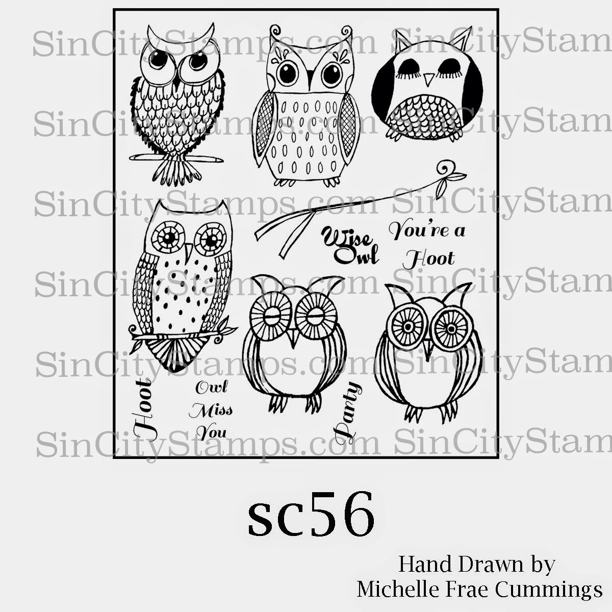 """Hoot Owls"" Rubber Stamps"