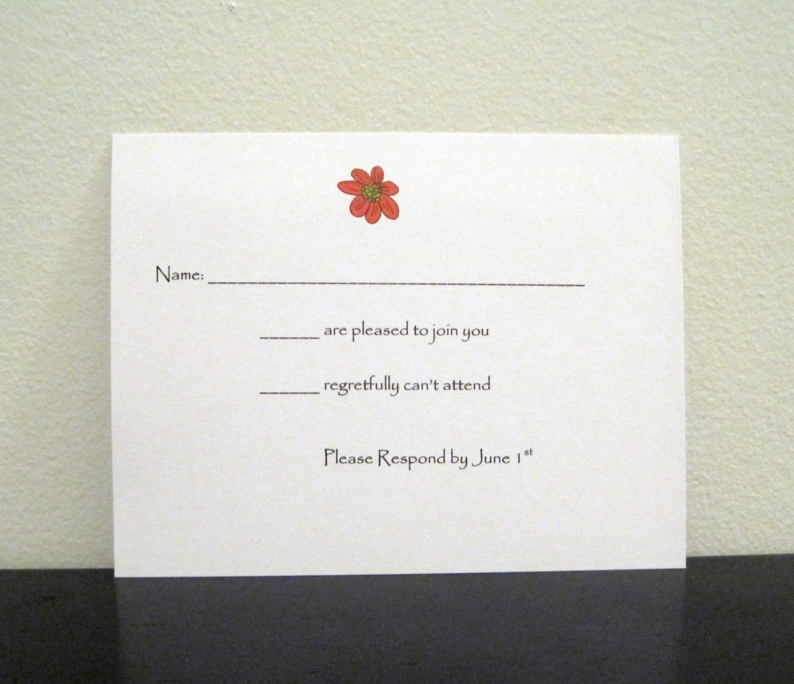 Flower Wedding Invitation And RSVP Card