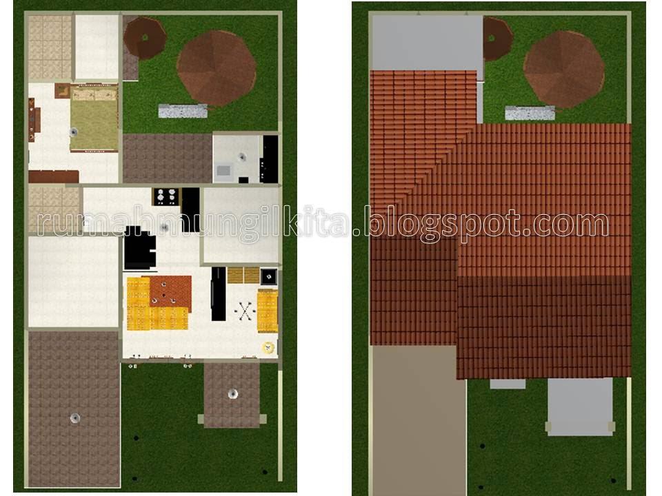 desain rumah tipe 57 tanah 120 m2 dengan 3 kamar tidur