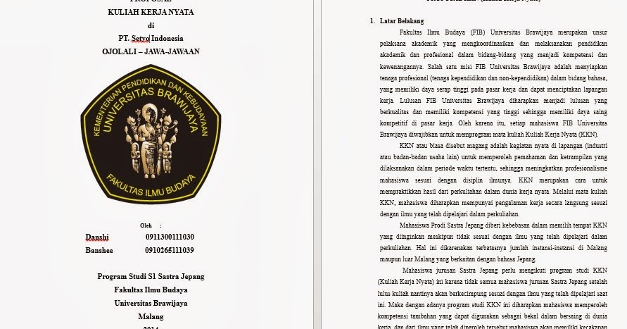 Contoh Proposal KKN / PKL UB ----Danshi ~ Danshi No Blog