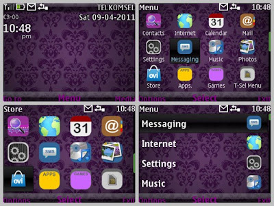 Purple dark theme for Nokia C3-00 X2-01 Asha 302 Asha 200 Asha 201