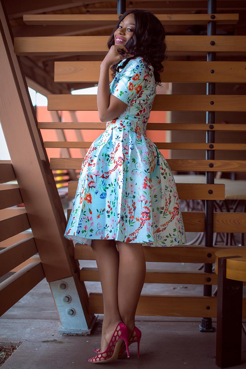 valentines day floral, Midi Dress, floral dress, gianvito rossi pumps, www.jadore-fashion.com