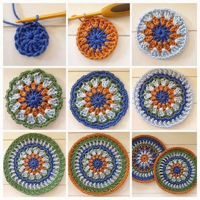 Posavaso o agarradera en lana de 4 colores con ganchillo paso a paso