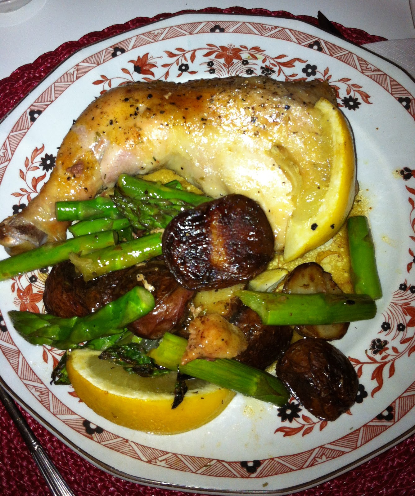 Sybil's Spoon: Roasted chicken with potatoes, asparagus ...